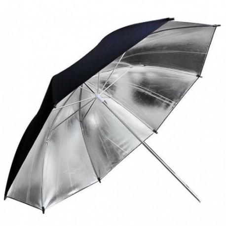 Зонт черный-серебро на отражение 100см