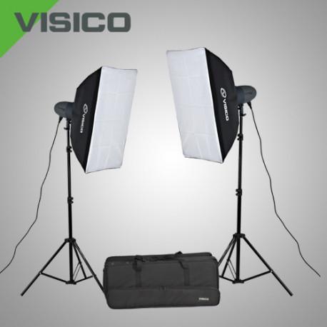 Набор импульсного света VL-300P c софтбоксами в сумке на колесах