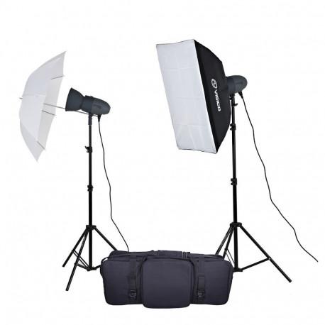 Набор импульсного света c софтбоксом и зонтом VL-300 kit sn-15